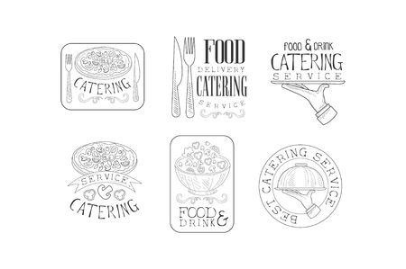 Vector set of sketch emblems for catering or food delivery services. Hand drawn  with food, cutlery, serving trays and calligraphic text Standard-Bild - 104333702