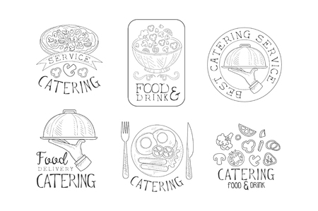 Hand drawn emblems for catering services. Monochrome vector   with tasty food, hands with trays and calligraphic text Standard-Bild - 104333704