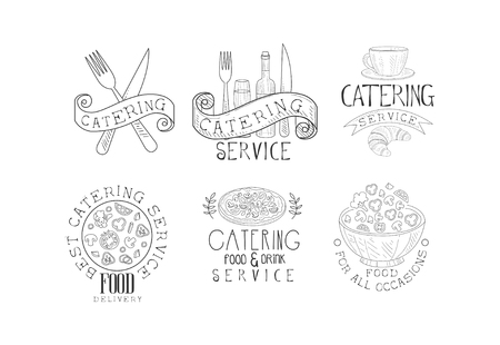 Vector set of monochrome emblems for catering companies and food delivery services. Sketch with tasty meal, drinks and cutlery Vector Illustration