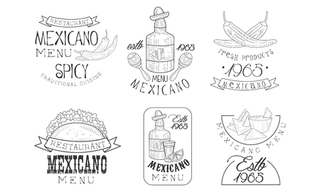 Vector set of original Mexican templates. Monochrome emblems with tequila bottles, chili peppers and traditional snacks