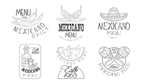 Vector set of 6 sketch style emblems for Mexican restaurant. traditional food, tequila bottle, sombrero hat and maracas