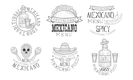 Original vector Mexican  for restaurants. Monochrome emblems with traditional food and drink, maracas and skull