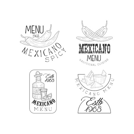 Vector set of 4 hand drawn   for Mexican restaurant. Monochrome emblems with chili peppers, nachos and tequila bottle  イラスト・ベクター素材