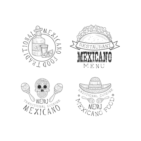 Vector set of 4 for restaurants of Mexican cuisine. Monochrome emblems with tequila bottle, tacos, skull and sombrero with maracas