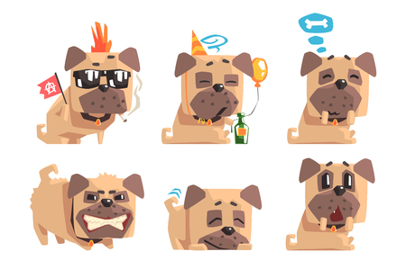 Set of funny pug with different emotions. Home pet. Cartoon character of domestic animal. Graphic design for print, sticker or greeting card. Flat vector illustrations isolated on white background. Stock Illustratie