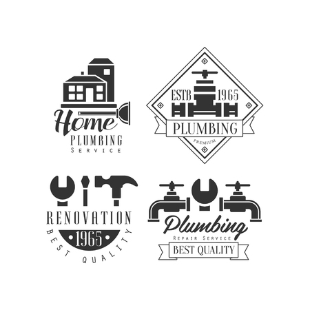 Monochrome vector emblems for plumbing and home renovation services. buildings, working instruments and water taps