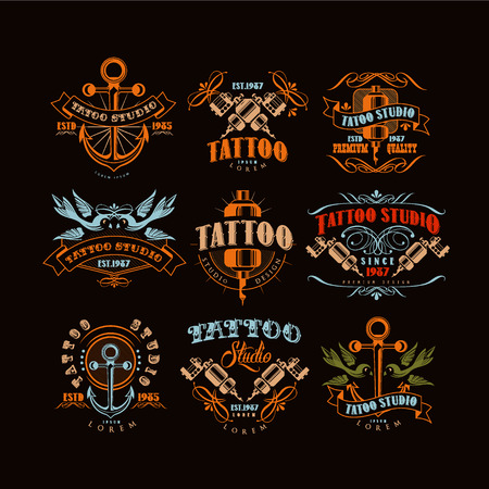 Tattoo studio design set, retro styled emblems with professional equipment and tattoo elements vector Illustrations Stock Vector - 104385568