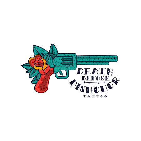 Retro revolver, rose flower and words Death before dishonor, classic American old school tattoo vector Illustration on a white background