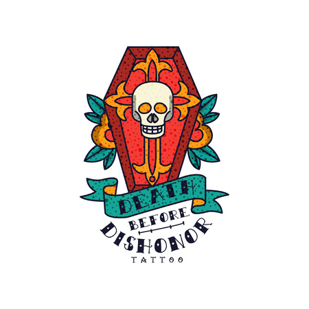 Red coffin, skull, rose flowers and words Death before dishonor, classic American old school tattoo vector Illustration on a white background