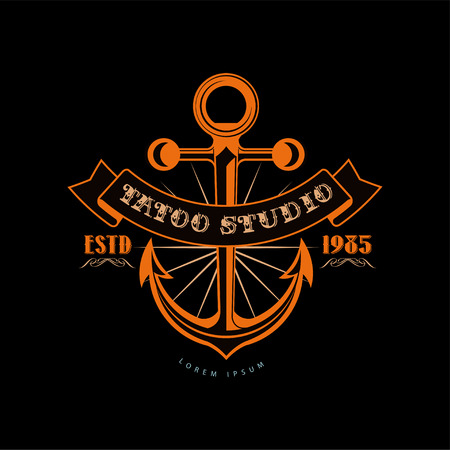Tattoo studio  design template estd 1983, retro styled emblem with anchor vector Illustration Illusztráció