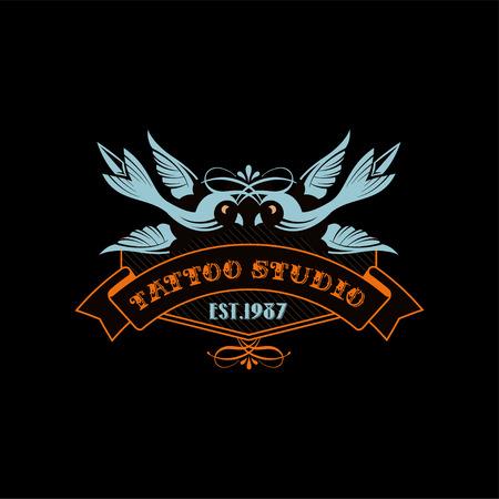 Tattoo studio estd 1987, retro styled emblem with birds vector Illustration