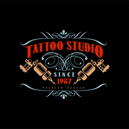 Tattoo studio   design premium estd 1987, retro styled emblem with tattoo machines vector Illustration Illustration