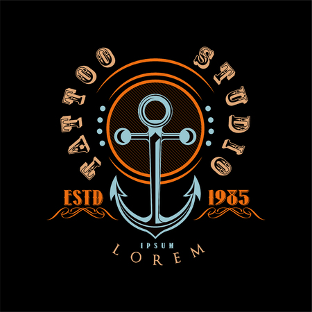 Tattoo studio   estd 1985, retro styled emblem with anchor vector Illustration