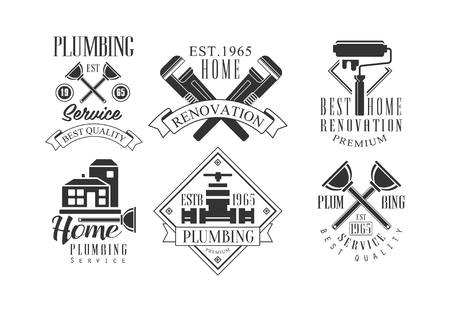 Vector set of original monochrome emblems for plumbing and construction services. Home renovation, house painting and repair Stockfoto - 104385751