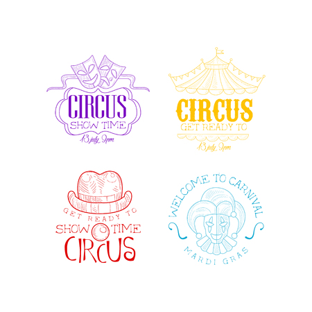 Circus and Mardi Gras  set in different colors. Sketch vector emblems with theatrical masks, top of tent, jester, clowns hat and nose