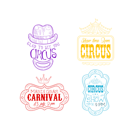 Vector set of sketch style emblems for circus and Mardi Gras carnival. Hand drawn signs in different colors. Illustration