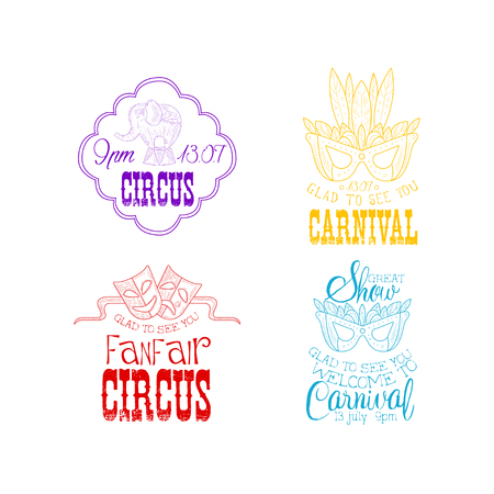 Vector set of hand drawn circus or carnival signs in different colors. Sketch emblems with elephant on stand, masquerade and theatrical masks