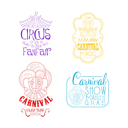 Creative sketch style vector emblems for circus and Mardi Gras carnival. Hand drawn signs with top of tent, masquerade mask and jesters