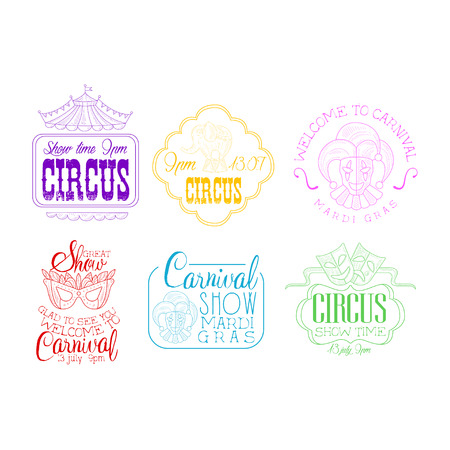 Vectoe set of emblems for circus and Mardi Gras carnival. Sketch  templates with masks, elephant on stand, jesters and top of tent