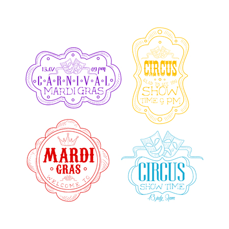Vector emblems for circus and Mardi Gras carnival in different colors. Sketch   with theatrical masks, crown and text in vintage frames