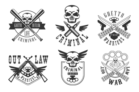 Vector set of emblems related to criminal theme. Ghetto warriors. Monochrome labels with weapons, bullets, crossed bits and skulls