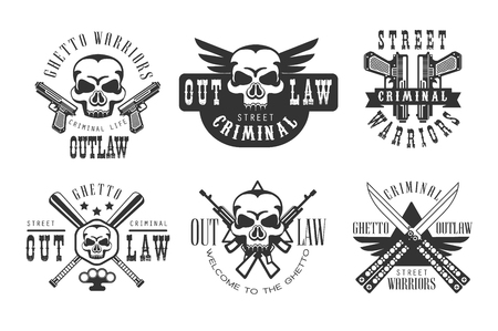 Vector set of original emblems related to criminal life. Monochrome labels with skulls, guns, crossed baseball bats and knives