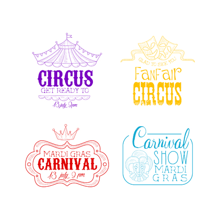 Circus and Mardi Gras carnival   set. Hand drawn vector emblems in different colors with top of tent, theatrical masks, crown and jester