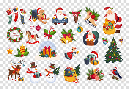 Set of colorful items related to Christmas and New Year theme. Santa Claus, decorative toys, gifts and tree. Graphic elements for greeting cards. Flat vector icons isolated on transparent background.  イラスト・ベクター素材