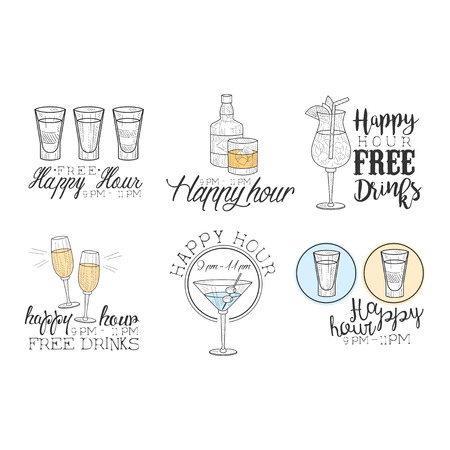 Vector set of original   for cocktail bar. Sketch style emblems with different drinks in glasses and bottles. Happy hour