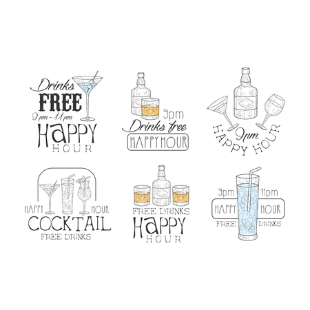 Vectoe set of original promotion signs for cocktail bar.   bottles and glasses with drinks. Sketch style emblems with colorful fill Illustration