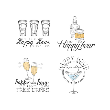 Vector set of 4 hand drawn emblems for cocktail bar or restaurant. Original  templates with different drinks. Alcoholic beverages