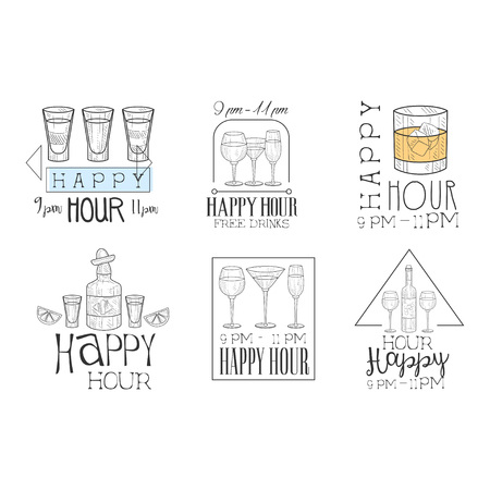 Vector set of promotional cocktail bar signs. Sketch style emblems with glasses, bottles and lettering. Free drinks, happy hour