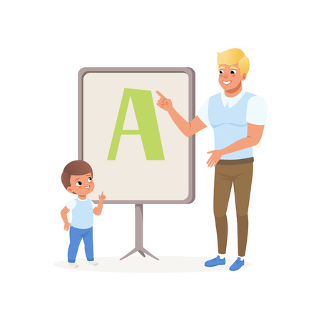 Young blond man and little boy standing next to blackboard with alphabet letter A. Preschool kid learning ABC in kindergarten with male teacher. Child development center. Isolated flat vector design. Illustration