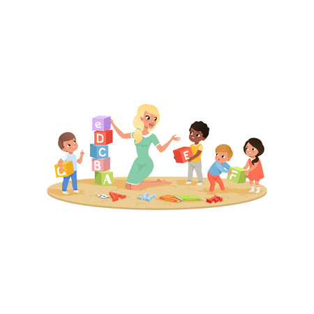 Group of little kids with young female teacher collects tower of colored ABC cubes on round carpet. Children learning alphabet through play. Educational game. Isolated flat design vector illustration. 向量圖像
