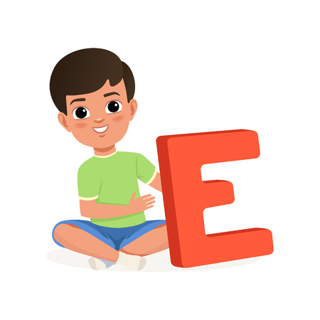 Cute black-haired boy sitting with crossed legs and holding big red letter E. Cartoon character of little kid in t-shirt and shorts. Fun educational game. Child development center. Flat vector design. Illustration