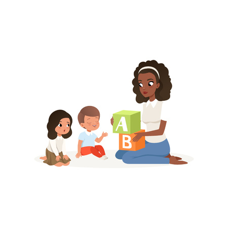 Woman teacher holding colored ABC cubes. Little boy and girl learning alphabet letters. Young Afro-American girl and two kids sitting on floor. Flat vector illustration isolated on white background. Ilustração