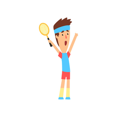 Funny guy standing with hands up and holding tennis racket. Winner of the match. Colorful flat vector design Ilustração Vetorial