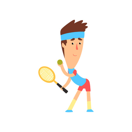 Man playing tennis. Young player in blue t-shirt, headband and red shorts with racket and ball in hands. Active sports game. Flat vector design