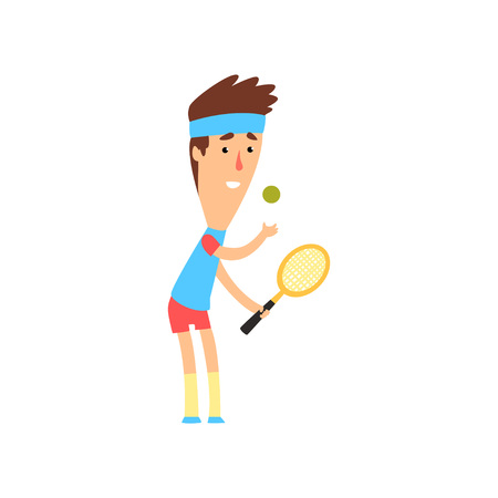 Smiling guy with racket ready to serve tennis ball. Young man in sportswear. Summer sport game. Flat vector design  イラスト・ベクター素材