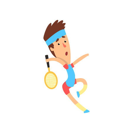 Cartoon man in action with racket in hand ready to hit tennis ball. Guy wearing sportswear. Summer game. Flat vector design