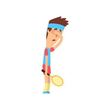 Tired or sad guy holding tennis racket and closing his face with hand. Young man in sportswear. Flat vector design