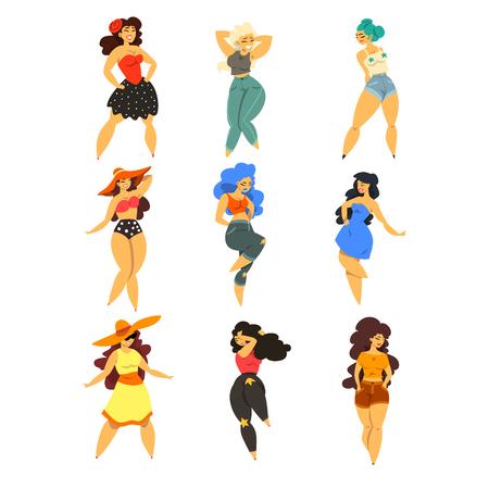 Hermoso conjunto de chicas con curvas, sobrepeso, mujeres de talla grande en ropa de moda, ilustraciones de vectores modelo pinup