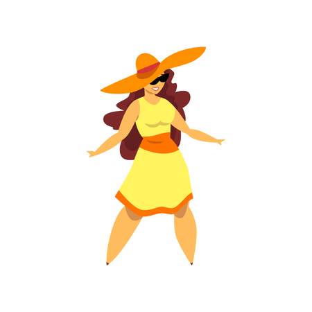 Beautiful curvy, overweight brunette girl in yellow dress and hat, plus size woman pinup model vector Illustration