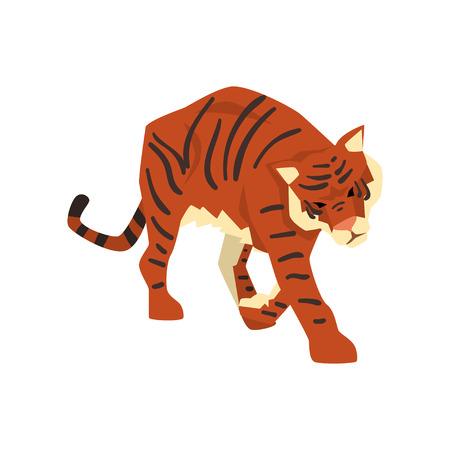 Tiger walking, wild cat, predator cartoon vector Illustration isolated on a white background. Illustration