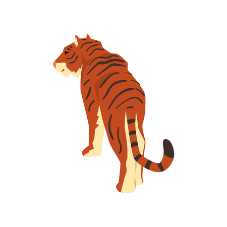 Majestic tiger, back view, wild cat, predator cartoon vector Illustration isolated on a white background.