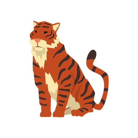 Powerful tiger sitting, wild cat, predator cartoon vector Illustration isolated on a white background.