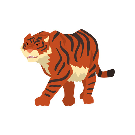 Aggressive tiger walking, wild cat, predator cartoon vector Illustration isolated on a white background.