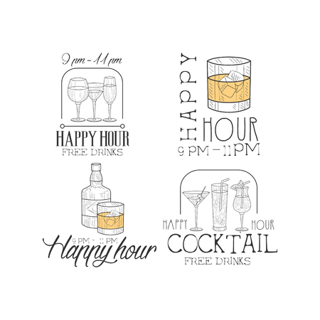 Vector set of 4 original sketch style   for cocktail bar or restaurant. Hand drawn emblems with different alcoholic drinks