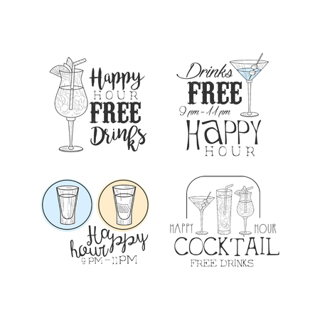 Vector set of hand drawn promotion signs for cocktail bar or restaurant. Original  with alcoholic drinks and calligraphic text