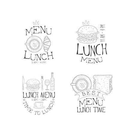 Vector set of monochrome lunch menu. Original sketch style emblems with tasty burgers, cup of coffee with sandwich and croissant Stock Illustratie